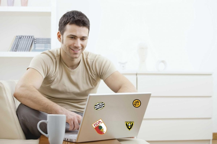 Dave stuck stickers to his laptop so his mates would know how much he loves soccer. It worked.
