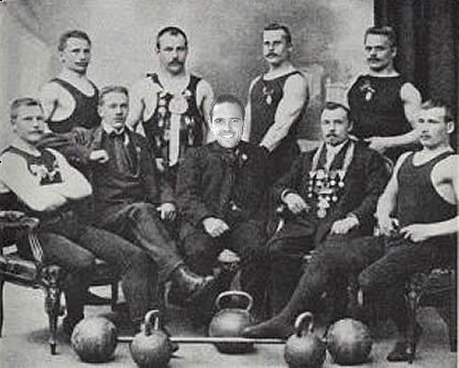Ings pictured with the Lancashire Strong Man Association in 1913.