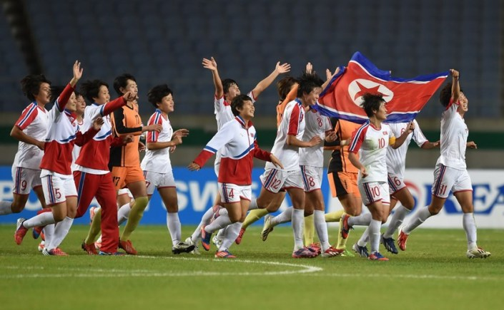 North Korea's women celebrating their much deserved World Cup win.