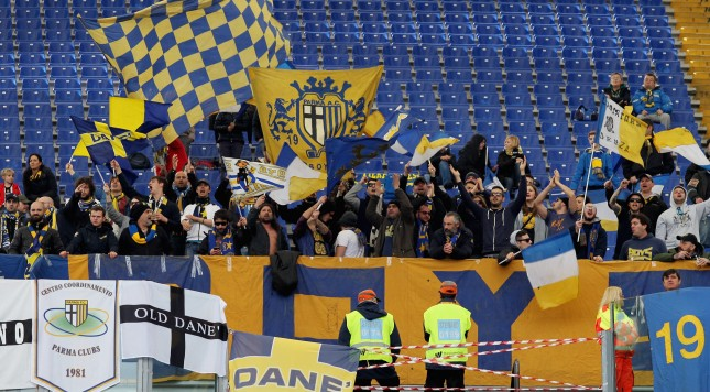 Parma fans protest the club's suspension earlier in the season.