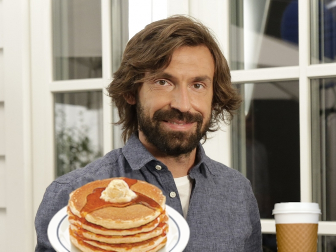 Pirlo with just some of the organic artisan products he'll be bringing to New York.