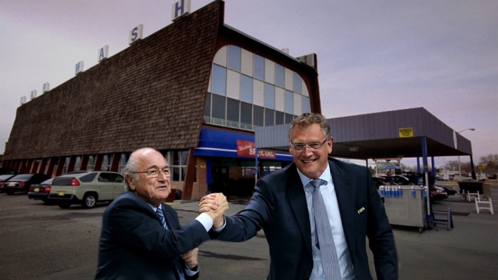 Blatter and Valcke outside of their new business.
