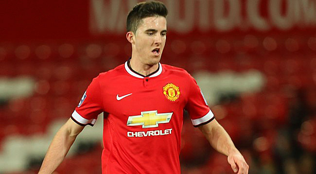 MANCHESTER, ENGLAND - MARCH 10: Sean Goss of Manchester United U21s in action during the Barclays U21 Premier League match between Manchester United U21s and Tottenham Hotspur U21s at Old Trafford on March 10, 2015 in Manchester, England. (Photo: John Peters/Man Utd via Getty Images)