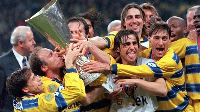 Parma's 1999 UEFA Cup win, just one of the many memories put up for sale by the bankrupt club. (Photo: UEFA)